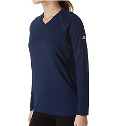 Adidas Climalite Long Sleeve V-Neck T-Shirt 3872