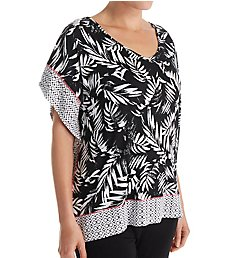 Anne Klein Black Geo Caftan Top 8310493
