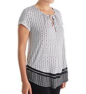 Anne Klein Black Geo Short Sleeve Top 8410493