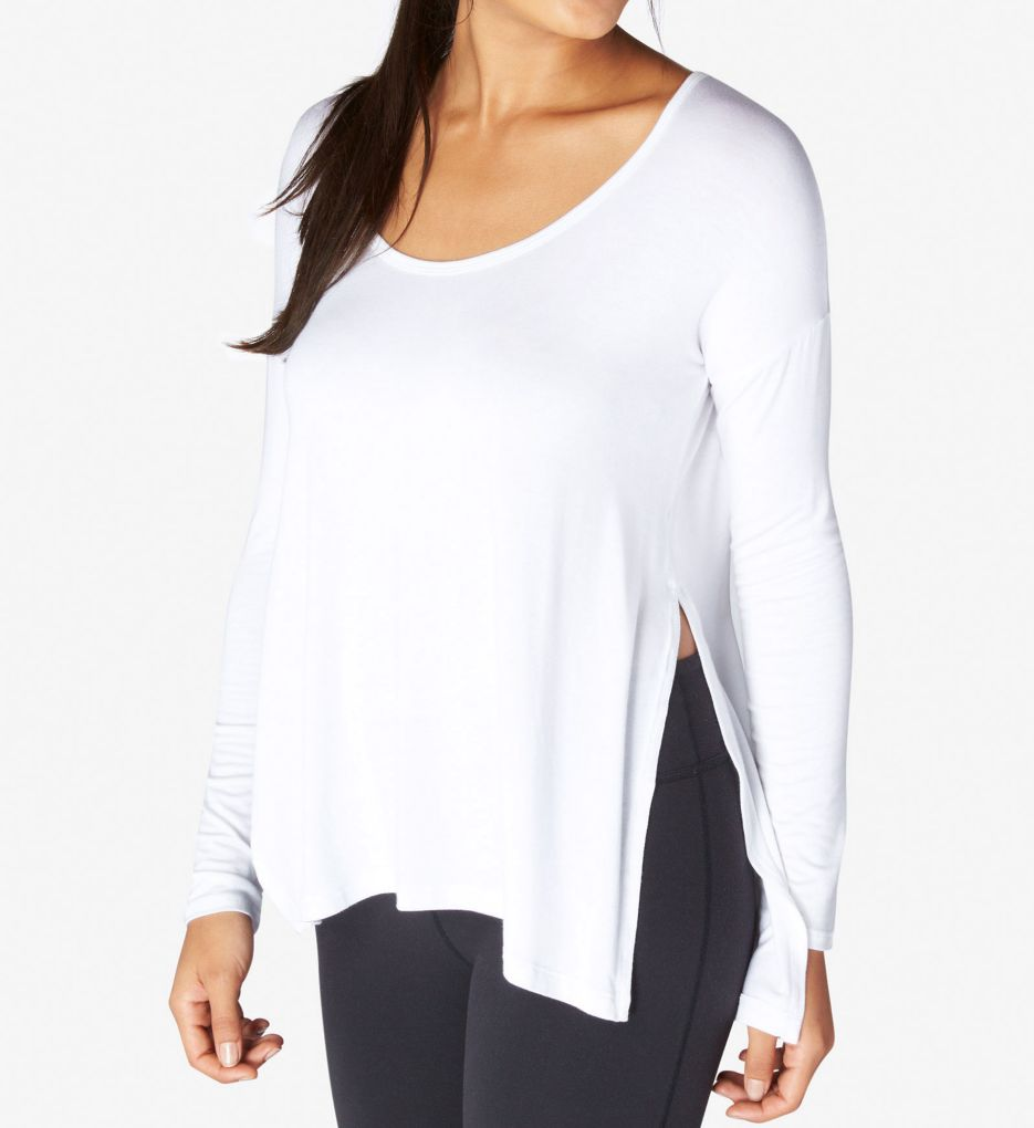Beyond Yoga Slinky Modal Long Sleeve Side Slit Pullover Top LK7340