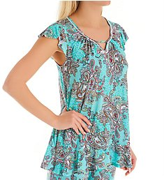 Ellen Tracy Turquoise Damask Short Sleeve Top 8422914