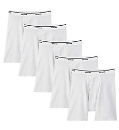 Fruit Of The Loom Mens Core White Cotton Boxer Briefs - 5 Pack 5BB7600