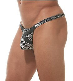 Gregg Homme Captive Faux Leather Leopard Thong 162304