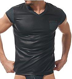 Gregg Homme Redline Faux Leather V Neck T-Shirt 170107