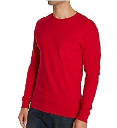 Hanes 100% Cotton Long Sleeve Pocket T-Shirt 5596