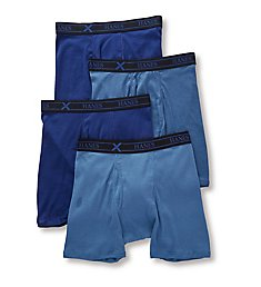 Hanes Combed Cotton Assorted Boxer Briefs - 4 Pack YXBBA4