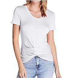 Michael Stars Shine Tobi Short Sleeve V-Neck Twist Tee 0592