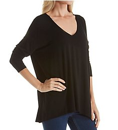 Michael Stars Jersey Lycra Long Sleeve V-Neck w/ Side Slits Tee 2255