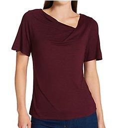 Michael Stars Luxe Jersey Estelle Short Sleeve Drape Neck Top 2483