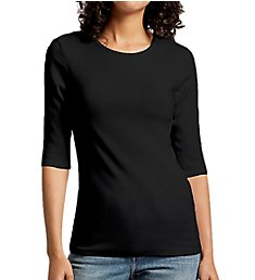 Michael Stars Ultra Rib Tara Slim Crew Neck Elbow Sleeve Tee 2569