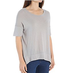 Michael Stars Luxe Slub Elbow Sleeve Scoop Neck Hi-Low Tee 6571