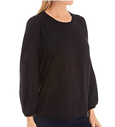 Michael Stars Supima Cotton Slub Anabelle 3/4 Puff Sleeve Top 8596