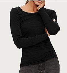 Michael Stars Supima Long Sleeve Raw Edge Banded Crew Neck 8701