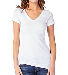 Michael Stars Supima Short Sleeve Raw Edge V-Neck Tee 8767
