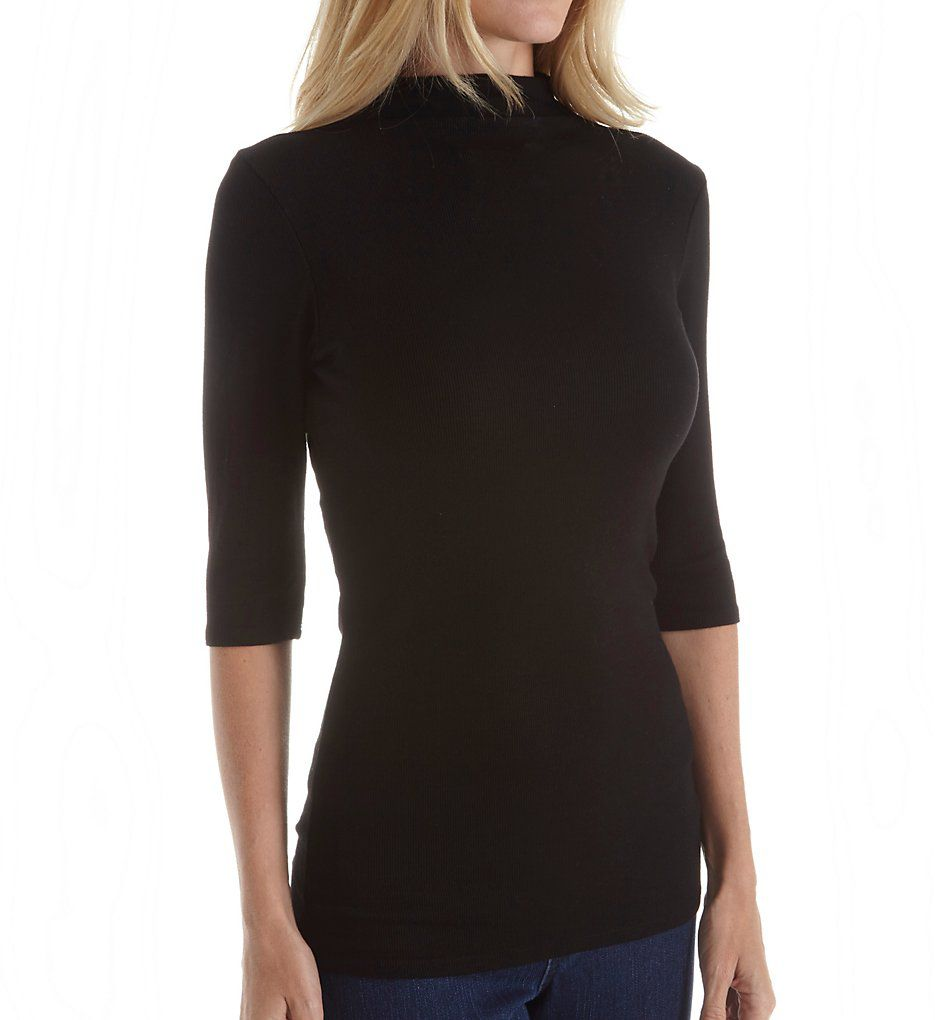 Michael Stars 2x1 Elbow Sleeve Funnel Neck Tee 8884