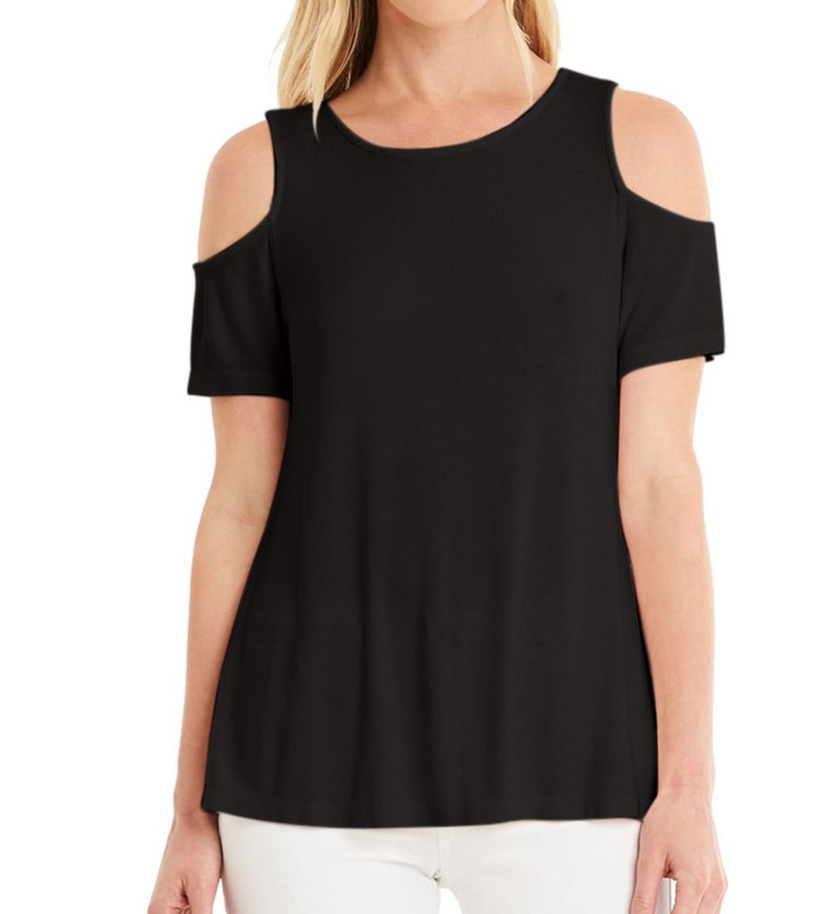 Michael Stars 2X1 Cold Shoulder Short Sleeve Tee 8894