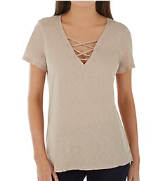 Michael Stars Supima Cotton Slub Short Sleeve Lace Up V-Neck Tee 8942