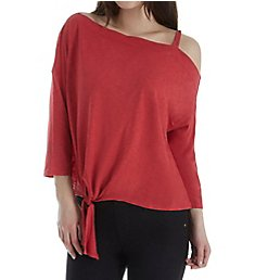 Michael Stars 3/4 Sleeve Off Shoulder Knot Top 8949