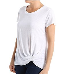 Michael Stars Supima Cotton Slub Crew Neck Pleated Detail Tee 8951