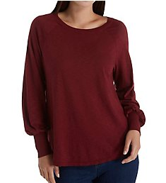 Michael Stars Supima Cotton Slub Puffed Long Sleeve Boat Neck 8968