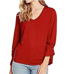 Michael Stars Supima Cotton Slub 3/4 Sleeve V-Neck Top 8989