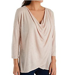 Michael Stars Brooklyn Jersey 3/4 Sleeve Surplice Top 9086