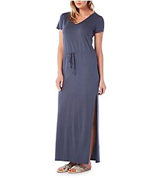 Michael Stars V-Neck Drawstring Maxi Tee Dress 9509