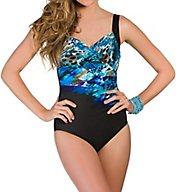 Miraclesuit Blue Attitude Sanibel Surplice One Piece Swimsuit 363263