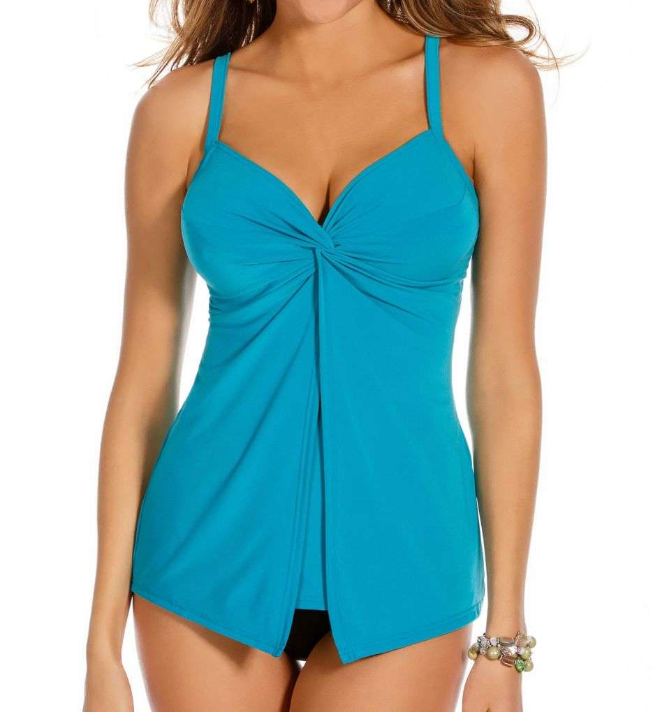 Miraclesuit DD-Cup Underwire Solid Love Knot Tankini Swim Top 4347DD