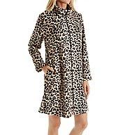 Miss Elaine Plush Fleece Leopard Zip Robe 831556