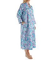 Miss Elaine Brushed Back Satin Long Zip Robe 861196