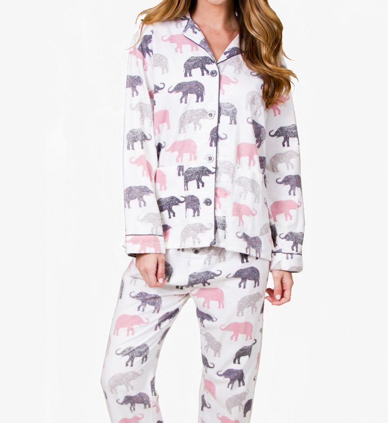 PJ Salvage Fantastic Flannels Elephant Walk Pajama Set REELPJ