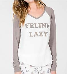 PJ Salvage Raining Cats and Dogs Feline Lazy Long Sleeve Top RKRALS1
