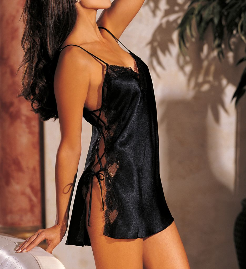 Shirley of Hollywood Charmeuse Lace-Up Chemise 20015