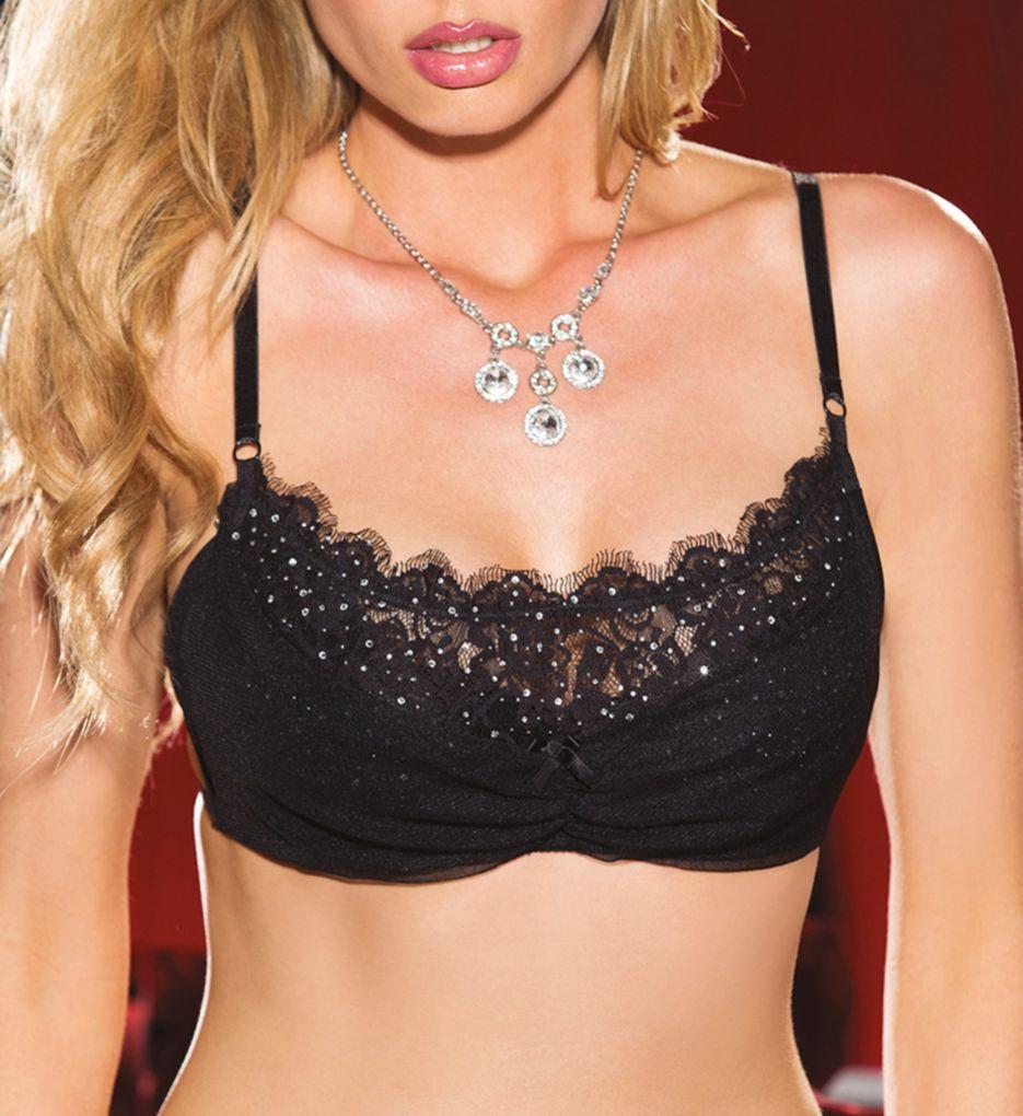 Shirley of Hollywood Rhinestone Embellished Eyelash Lace Bra 25452