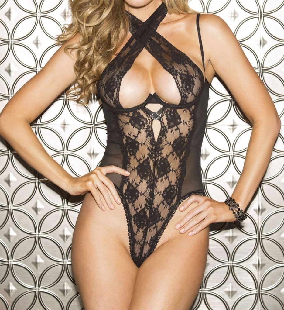 Shirley of Hollywood Lace Open Back Teddy 25573