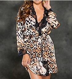 Shirley of Hollywood Leopard Sand Washed Crepe Charmeuse Robe 25818