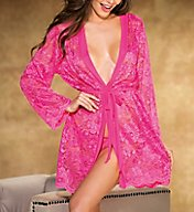 Shirley of Hollywood Stretch Lace Long Sleeve Trimmed Robe with Thong 31106