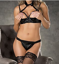Shirley of Hollywood Patent Leather and Soft Foam Shelf Cup Bra Set 31150