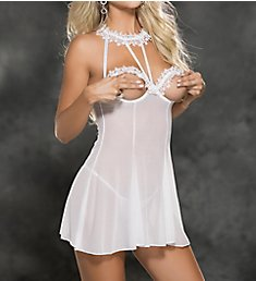 Shirley of Hollywood Venice and Mesh Open Bust Chemise with G-string 31435