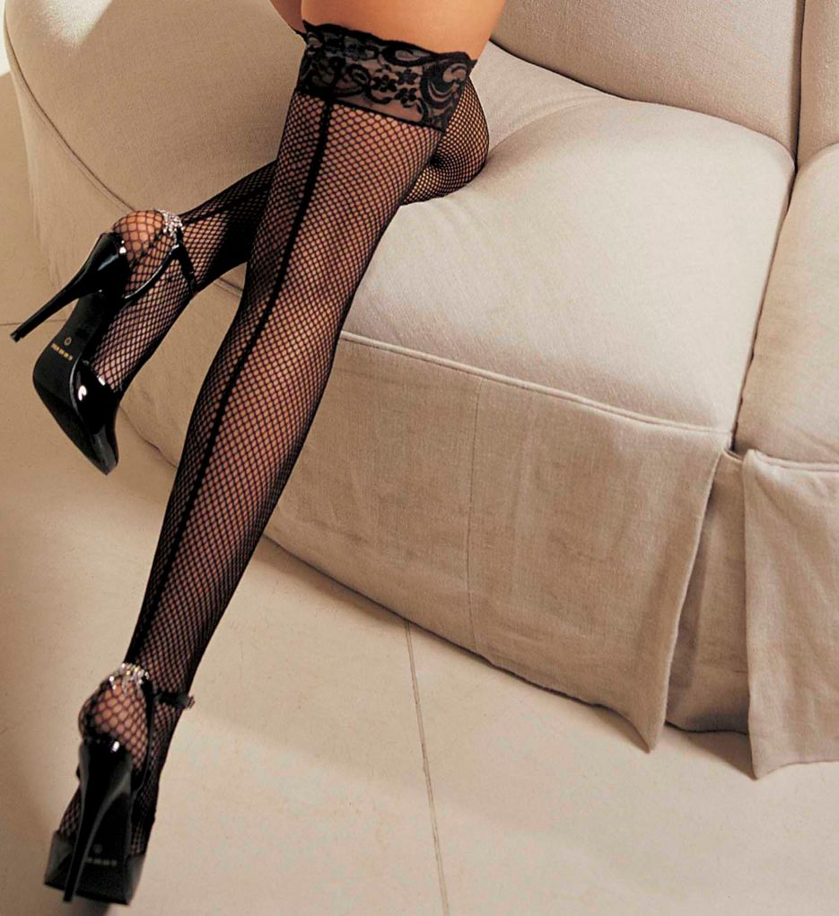 Shirley of Hollywood Fishnet Back Seam Stay Up Thigh Stockings 90013