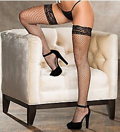 Shirley of Hollywood All Over Sparkle Fishnet Lace Top Stay Up Stocking 90421