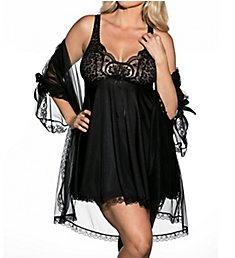 Shirley of Hollywood Plus Size 3 Piece Babydoll Peignoir Set X3595