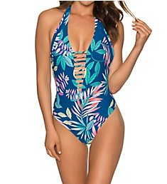 Swim Systems Pacific Oasis Solana Plunge One Piece Swimsuit C103PO