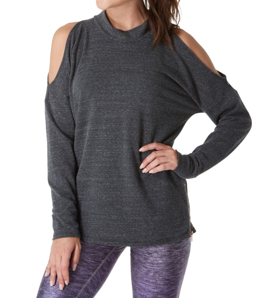 Terez French Terry Side Zip Cold Shoulder Top 2214