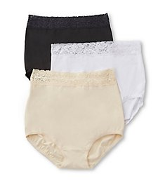 Teri Grace Lace Trim Microfiber Brief Panty - 3 Pack 313PK