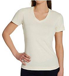 Three Dots 1x1 Short Sleeve Mid-V-Neck Tee AA1V100