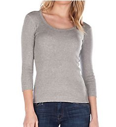 Three Dots 3/4 Sleeve Scoop Neck Tee AA4S041