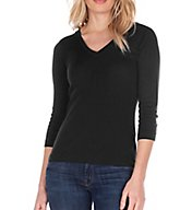Three Dots 1x1 Deep V-Neck 3/4 Sleeve Tee AA4V003