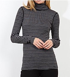 Three Dots Combed Cotton Turtleneck Tahoe Stripe MF2T040
